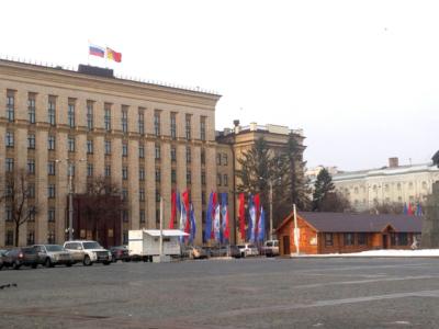 флаги в центре города Воронежа